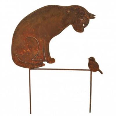 """zahradní kovový zápich s patinou """"kočka s ptáčkem"""""""