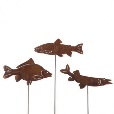 zahradní kovový zápich s patinou - ryby set 3ks